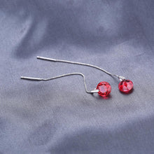 Load image into Gallery viewer, Ruby Threader Drop Sterling Silver Earrings