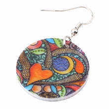 Load image into Gallery viewer, Decorated Acrylic Bohemian Heart Earrings