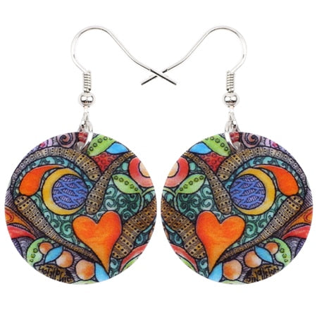 Decorated Acrylic Bohemian Heart Earrings
