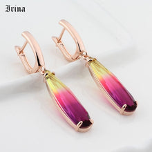 Load image into Gallery viewer, Colorful Water Drop Long Drop Earrings