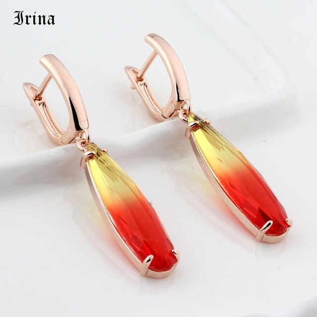Colorful Water Drop Long Drop Earrings