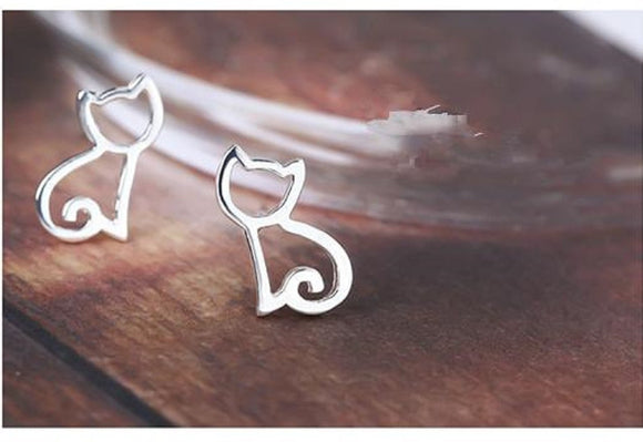 Tiny 925 Silver Cat Stud Earrings - earringsly