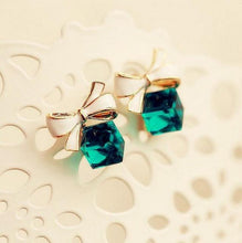 Load image into Gallery viewer, Bowknot Cube Crystal Square Earrings - earringsly