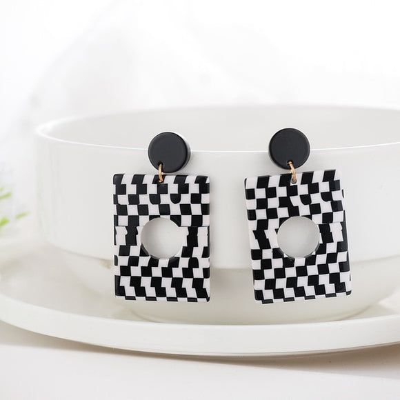 Black white Stripe Drop Earrings