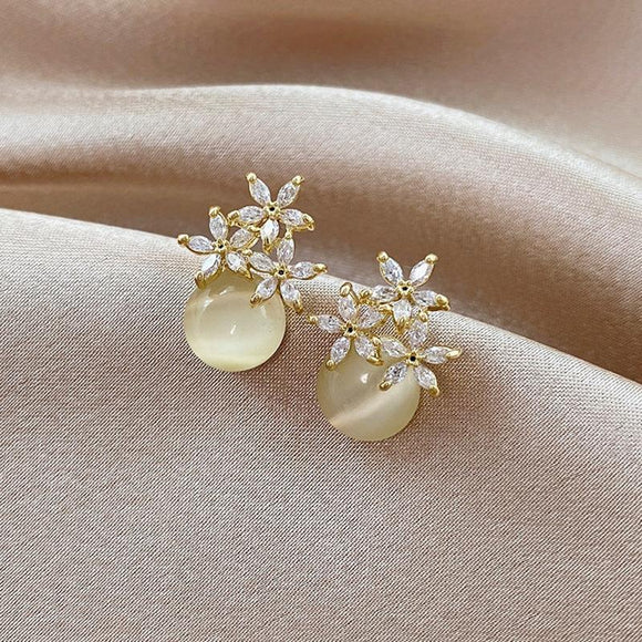 Tiny Crystal & Simulated Pearl Drop Earrings - earringsly