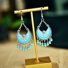 Load image into Gallery viewer, Boho Crescent Flower Beads Drop Earrings