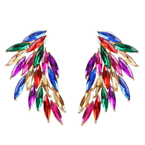 Rhinestone Wings Multi-color Earrings - earringsly