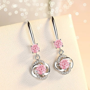 Romantic Lucky Clover Crystal Drop Earrings