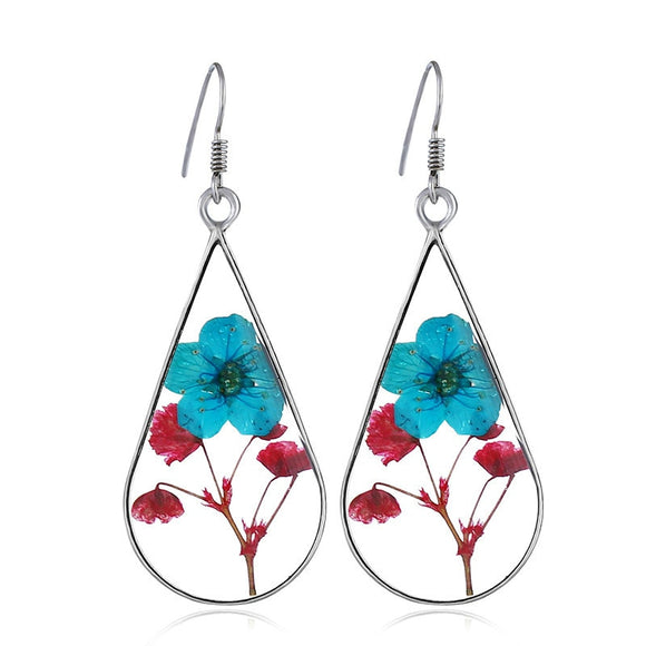 Handmade Epoxy Resin Dried Flower Earrings