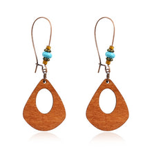 Load image into Gallery viewer, Vintage Wood Geometric Pendant Earrings