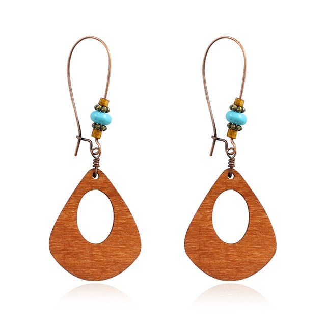 Vintage Wood Geometric Pendant Earrings