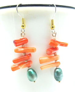Branch Coral Freshwater Pearl Earrings.