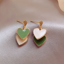 Load image into Gallery viewer, Green peach simple heart earrings