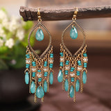 Classic Colorful Crystal Beads Tassel Earrings