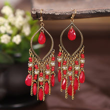 Load image into Gallery viewer, Classic Colorful Crystal Beads Tassel Earrings