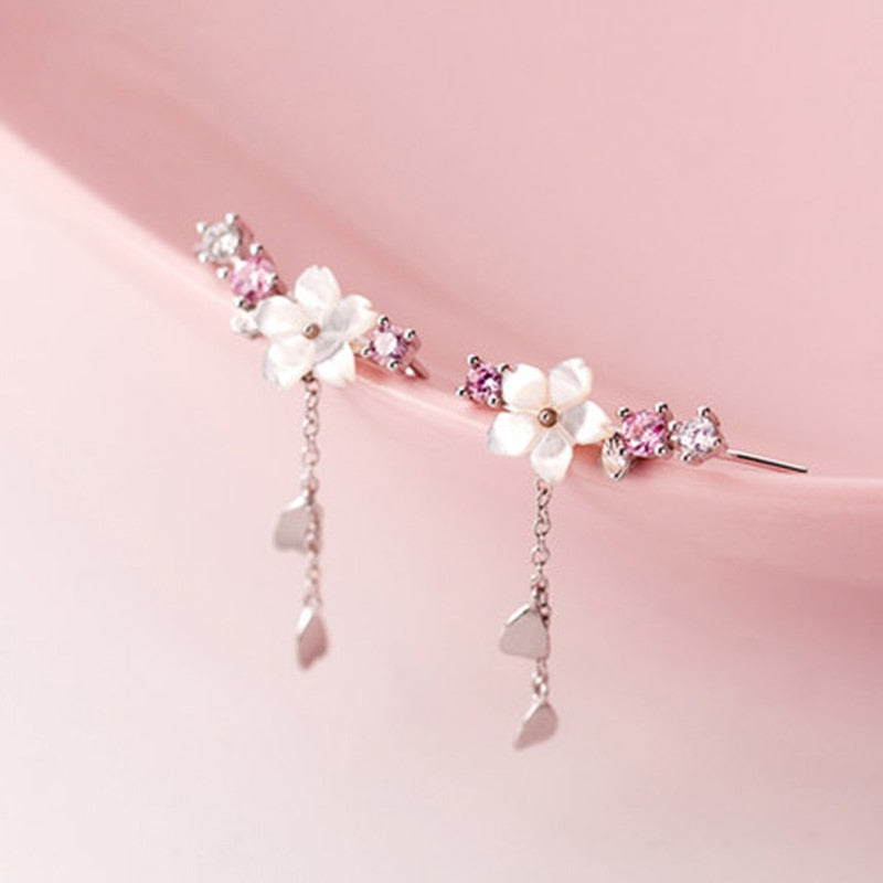 LISM 925 Sterling Silver Cherry Blossom Drop Earrings