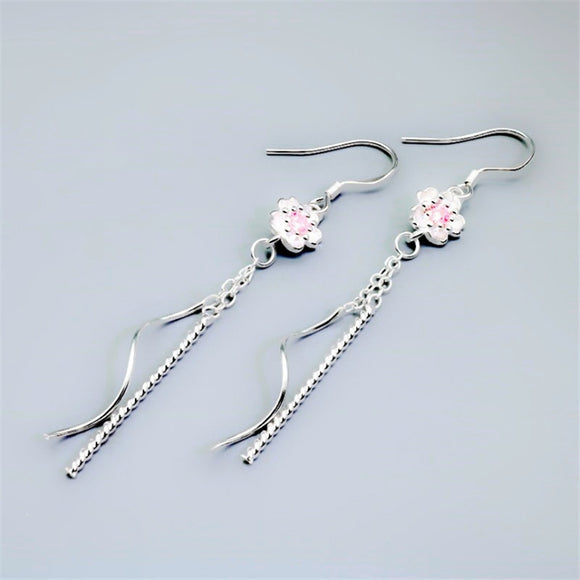 Pink Flower Ethnic Tibetan Drop Earrings