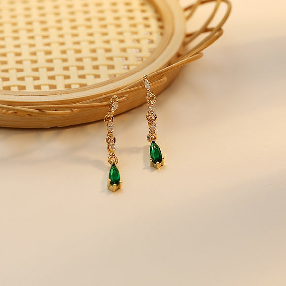 Vintage Emerald Delicate Water Drop Earrings