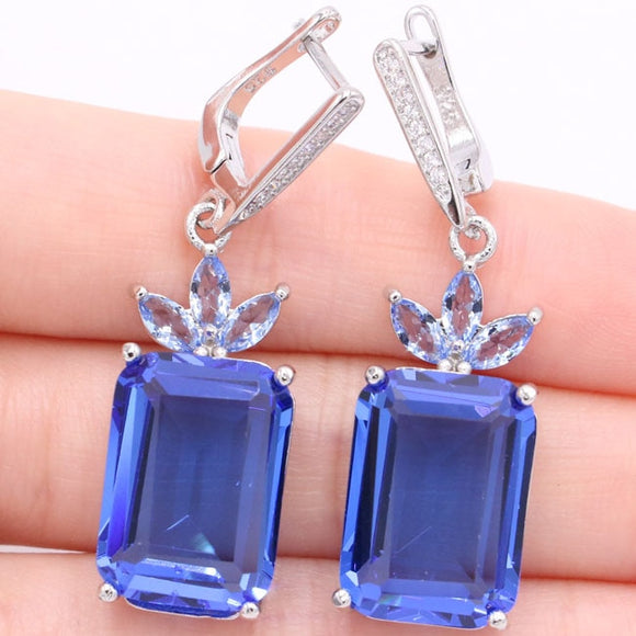 Rich Blue Tanzanite White Silver Earrings