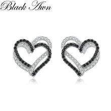 Load image into Gallery viewer, Black Awn Heart 925 Sterling Silver Stud Earring