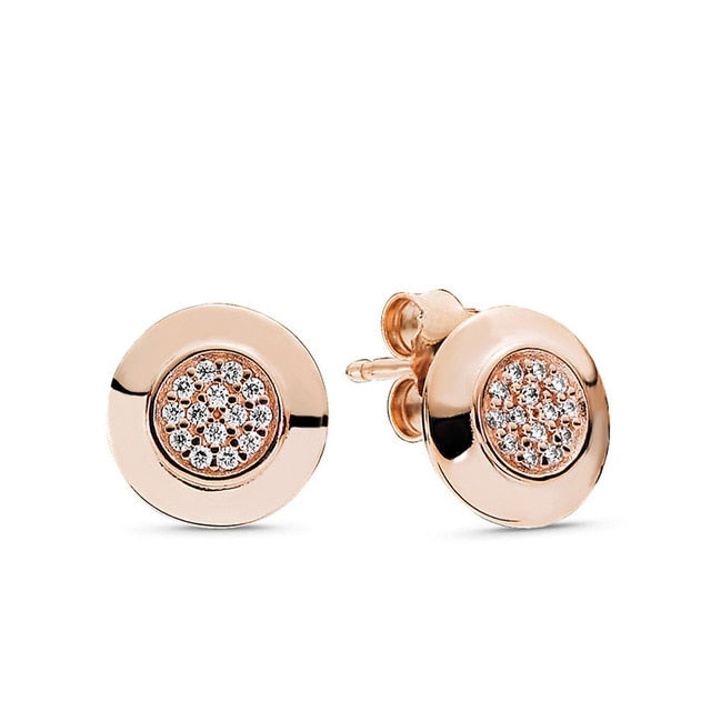 925 Sterling Silver Pink Daisy Flower Stud Earrings