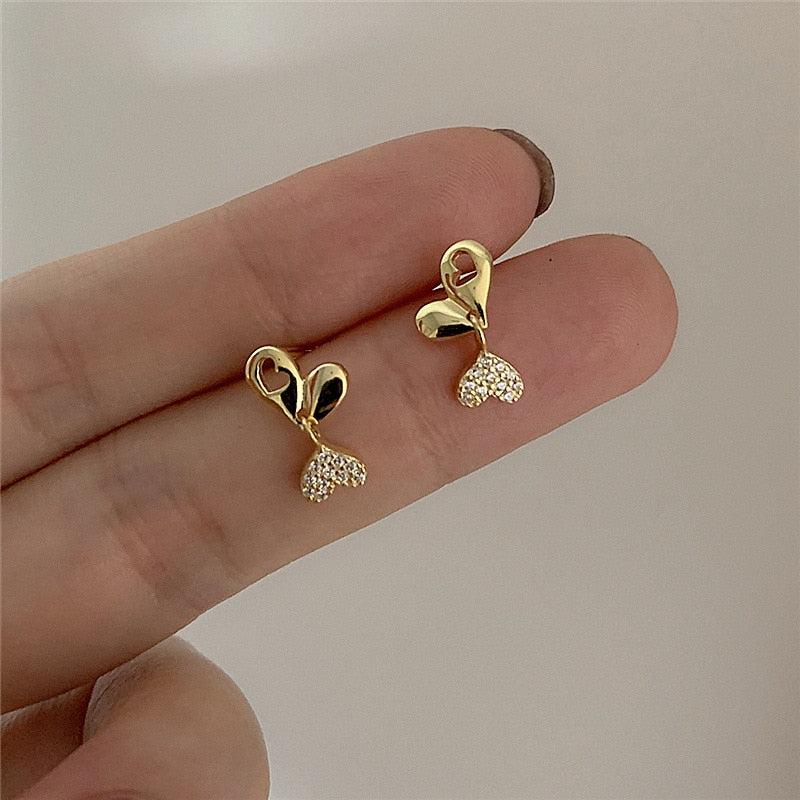 Crystal Exquisite Heart Stud Earrings
