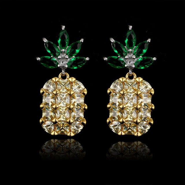 Pineapple Yellow Big Gems Crystal Earrings