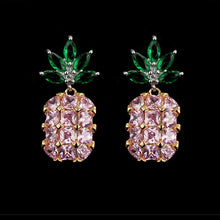 Load image into Gallery viewer, Pineapple Yellow Big Gems Crystal Earrings