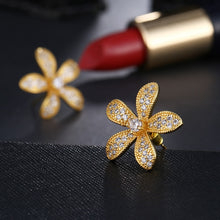 Load image into Gallery viewer, Zirconia Flower Shape Stud Earrings