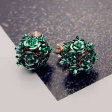 Load image into Gallery viewer, Rhinestone Crystal Rose Stud Earrings