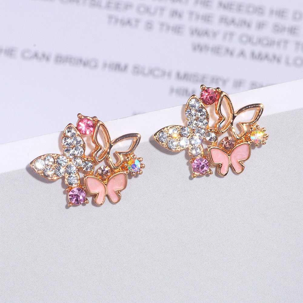 Cute Colorful Crystal Butterfly Stud Earrings