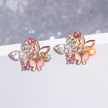 Load image into Gallery viewer, Cute Colorful Crystal Butterfly Stud Earrings