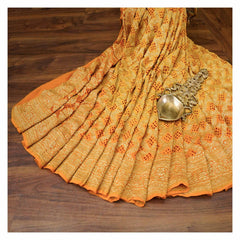 YELLOW BANDHANI GEORGETTE SAREE