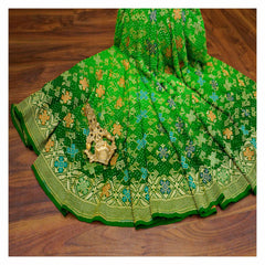 GREEN BANDHANI GEORGETTE SAREE,