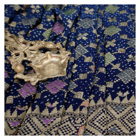 BLUE BANDHANI GEORGETTE SAREE