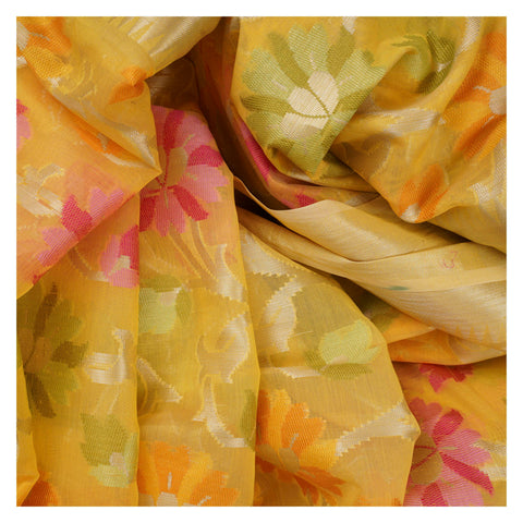 YELLOW COTTON SAREE