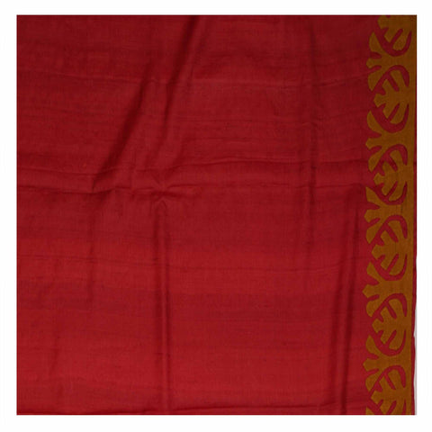 RED PRINTED TUSSAR SAREE