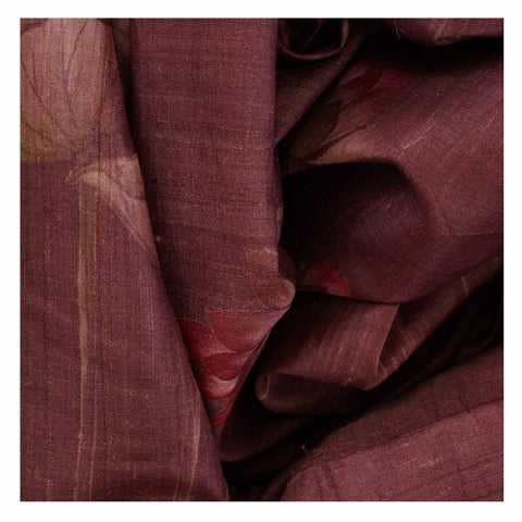 PURPLE PRINTED TUSSAR SAREES