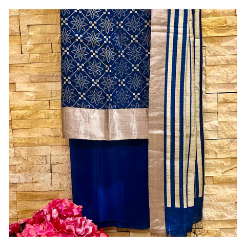 BLUE MATKA TUSSAR DRESS MATERIAL,