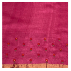 PINK TUSSAR EMBROIDERED SAREE