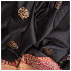 BLACK BANARSI DUPION SAREE,