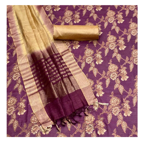 WINE BANARASI MOONGA TUSSAR DRESS MATERIAL