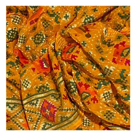 YELLOW GEORGETTE BANDHANI SAREE,