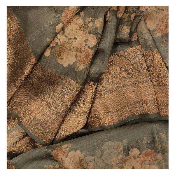 GREY TUSSAR SOFT SILK SAREE