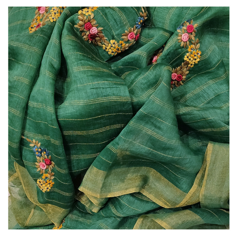 GREEN LINEN DESIGNER SAREE