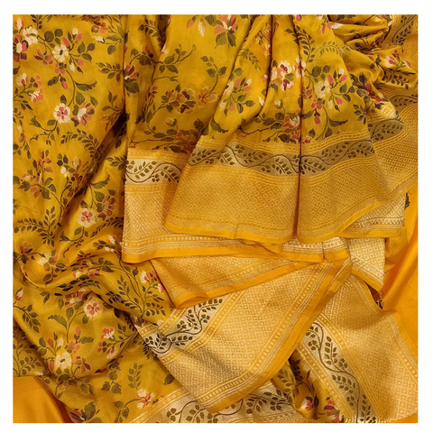 YELLOW SILK BANARSI SAREE