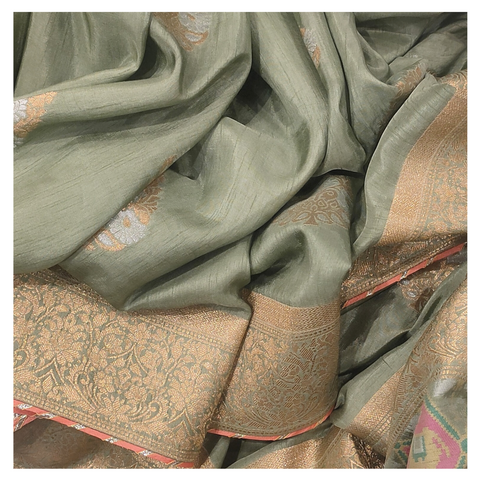 GREEN LINEN GEORGETTE BANARASI/HANDLOOM/SOFTSILKS/DESIGNER SAREE