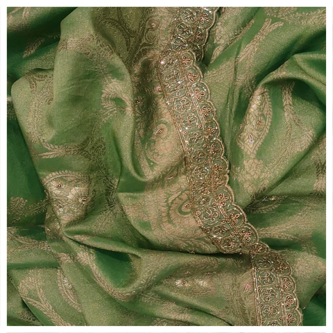 GREEN TISSUE GEORGETTE DESIGNER SAREE