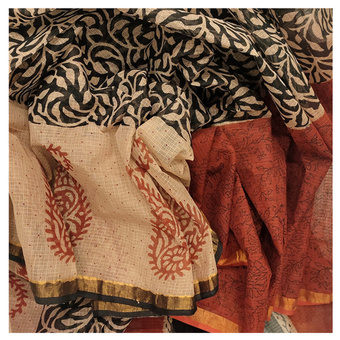 BEIGE COTTON/PRINTED SAREE