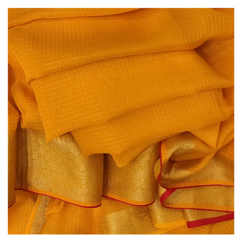 YELLOW ORGANZA DESIGNER / COTTON SAREE